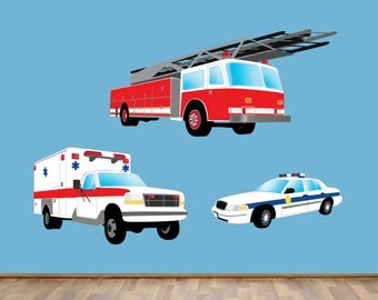 Police Car Firetruck Ambulance Wall Decal Reusable Wall Decal