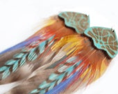 Tropical Macaw Color Feather Earrings