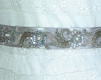 Bridal Sash-Wedding Sash In Grey And Silver, Beaded, Pearls, Beaded Sash, Wedding Dress Sash, Bridal Belt-Tres Chic