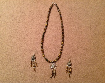 Vintage Necklace and Pierced Earring Set with Sterling Silver and Brown Beads