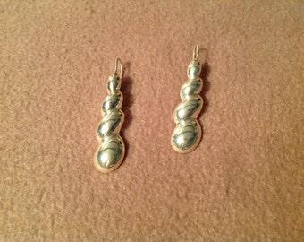 Vintage Sterling Silver Long Pierced Dangle Earrings