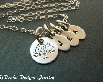 Family initial necklace with kids initials family sterling silver