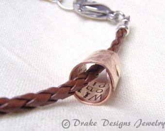 Secret  Message Bracelet Custom Mens Leather Bracelet Copper Mens or womens gift for men