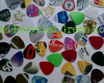 GUITAR PICKS -  free shipping, Upcycled - Reuse - Reduce - 25+ per package