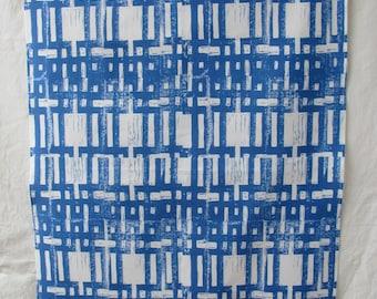 Tea towel blue carved grid