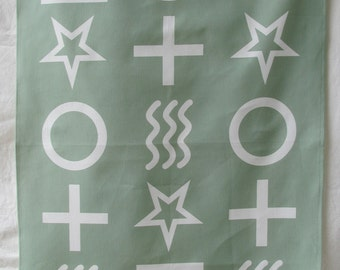 Tea Towel - white Zener symbols on green