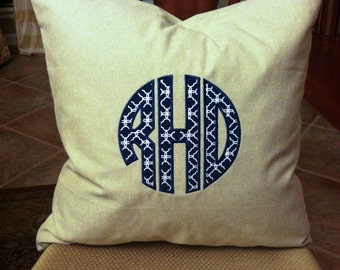 Circle Monogram Applique Pillow Cover