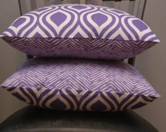 Purple/White Premier Prints 18 X 18 Throw Pillow Cover, 2 Sided Chevron and Geometric Print Sofa Pillow, Nicole Thistle Pillow Cover