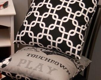 Black/ White Sports Print Throw Pillow Cover 16 X 16, 2 Sided Reversible Decorative Pillow, Premier Prints Gotcha