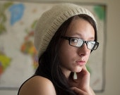 knit slouchy hat - simple black white accent, hand knit