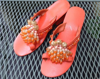 Cutest Tiki Pool Party Vintage 1950's Kitschy Sandals..Orange..Jeweled..Flamboyant Fun
