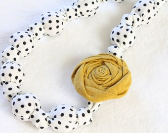 Fabric Statement Necklace,Teething Necklace, Chomping Necklace, Nursing Necklace - Mod and Yellow