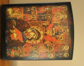 Old Testament Trinity, Virgin Mary, St George,St Dimitrious, Icon.Unique Religious Art and Gifts for Your Special Ones