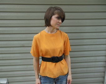 SALE! Vintage 1980's silk yellow blouse by Anna & Frank