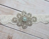 Something Blue Wedding Garter - BEST SELLER - Pearl Blue Keepsake - Ivory Lace
