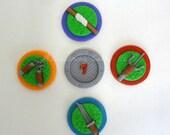 Ninja Weapons & Sewer Cap Fondant Cupcake Toppers (16)
