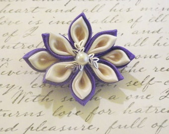 Purple and Creme Kanzashi Flower Brooch