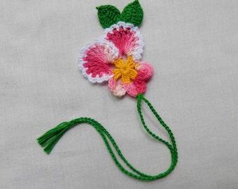 Handmade  Crochet  Shaded  Pink  Pansy  Bookmark,Bookmarks,Girls, Bible