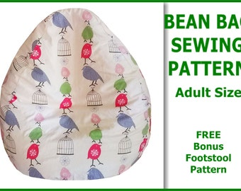 Adult Bean Bag Sewing Pattern with FREE bonus Foot Stool Cushion Pattern ~ INSTANT DOWNLOAD