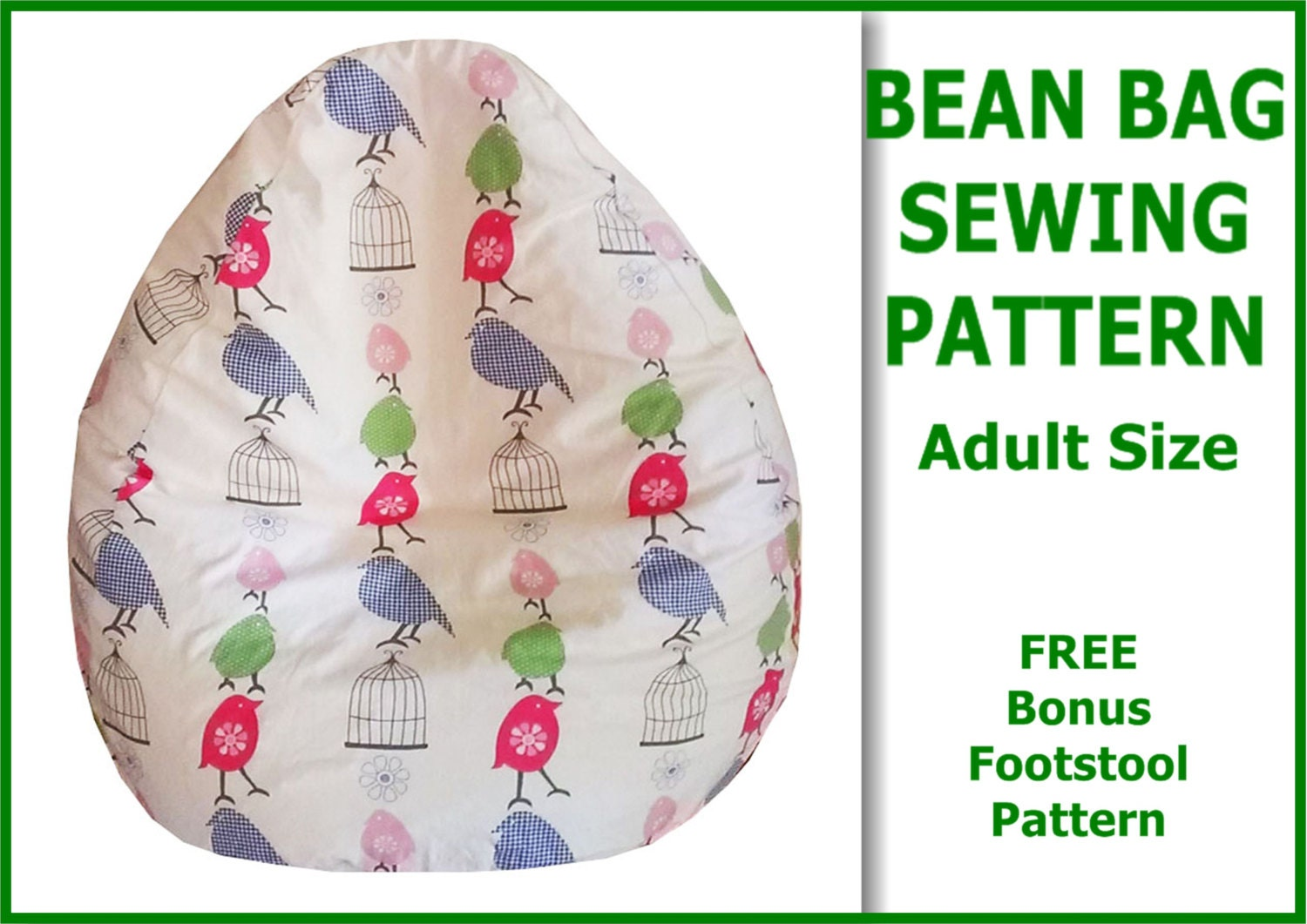 Adult Bean Bag Sewing Pattern with FREE bonus Foot Stool ...