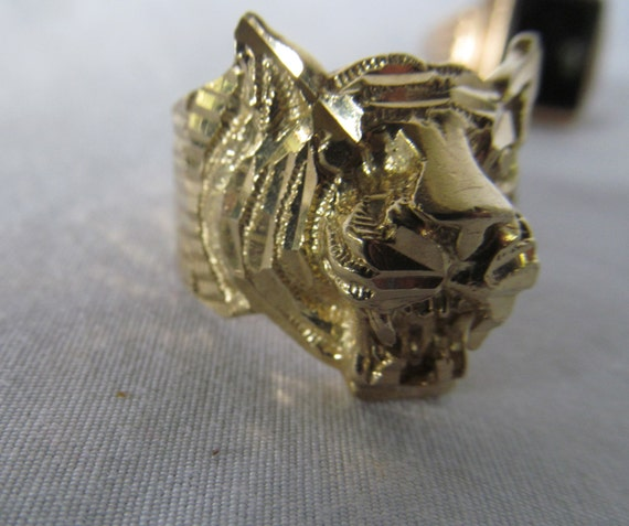 SALE Roaring Teeth Lion Head Ring 10K Mens Gold Lion Ring with
