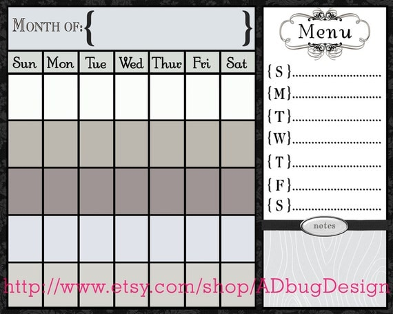 Horizontal Calendar Design : Juliet horizontal calendar printable dry by adbugdesign