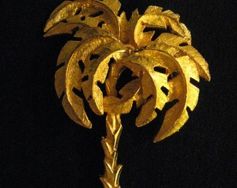 Vintage Gold Tone Palm Tree Brooch