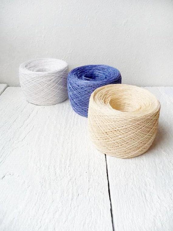 Lace weight yarn, lace weight thread, denim blue, snow white, cream