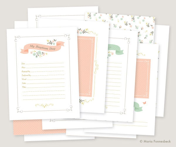 lds baptism memory book girl printables instant pdf download