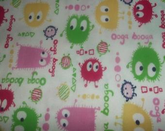 Pink and Green Ooga Booga PUL Waterproof Diaper Fabric