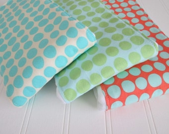 Baby Burp Cloth Set, SUN SPOTS, Amy Butler, Tangerine Turquoise Mint Green, Cloth Diaper Burp Cloth, Set of 3, Gender Neutral