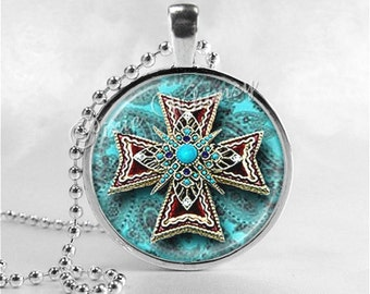 COWGIRL CROSS Necklace, Cross Pendant, Cross Jewelry, Glass Art Pendant Charm, Religious Jewelry, Turquoise, Cowhide