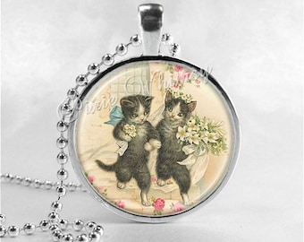 CAT WEDDING Necklace, Cat Necklace, Cat Jewelry, Glass Photo Art Necklace, Marriage, Bride and Groom, Wedding Jewelry, Wedding Necklace