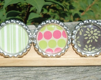 HALF PRICE Retro  Stripes Dots & Flowers, Set of 3, Bottlecap Magnets