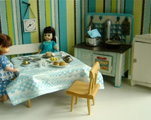 Mid-Century, Vintage Striped Doll Kitchen with tinplate litho metal doll stove,1:6 Scale for Blythe, Barbie,Ginny,Toni