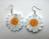 Crochet White and Yellow Daisy Flower Earrings