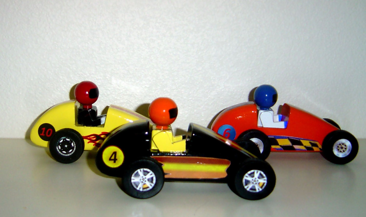 Toy Race Cars : Three wooden toy race cars