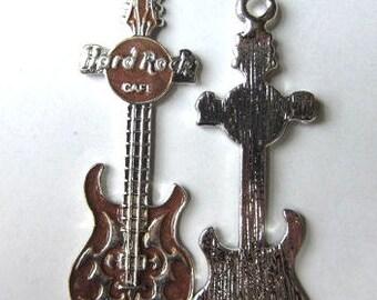Set of 5 BRONZE GUITAR Charm Pendants