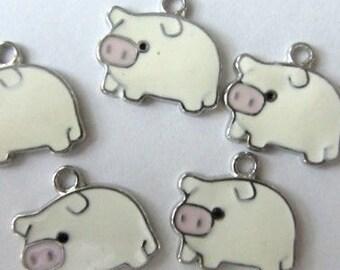 5 piece set WHITE PIG Charm Pendants