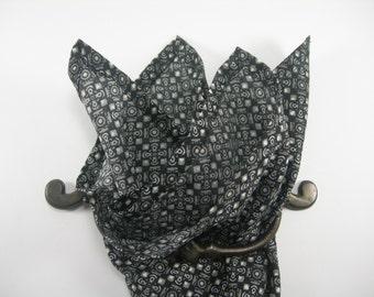 Cotton pocket square black,white and dark gray