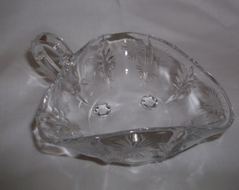 Fostoria Glass Handled 3 Cornered Nappy Lido Baroque