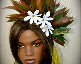 White Tiare Tahiti with silk ti leaf hair piece