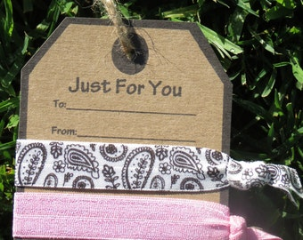 2 Hair Tie Just For You Present Card Gift Tag Party Favor Dark Brown Paisley Print Bubble Gum Pink