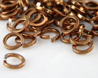 16 ga 1/4, 150 Square Bronze Anodized Aluminum Chainmail Jump Rings
