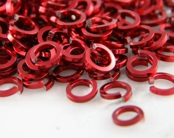 18 ga 3/16, 200 Square Red Anodized Aluminum Chainmail Jump Rings