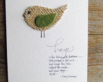 NEW! Earthy Burlap Bird Notecard