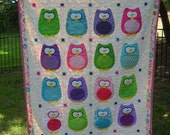 Custom Baby Crib Toddler Owl Homemade Color Customization Girl or Boy Theme Owl Woodland Theme The Hoots Amy Bradley - You Choose the Colors