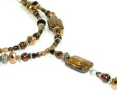 CLEARANCE - Striking and Rich Two Tiered with Drop Pendant -Bronzite and Crystal Beaded Necklace