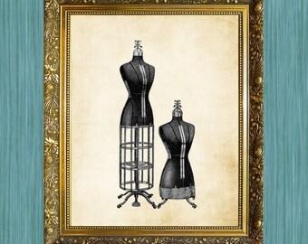 Dress Forms Print  8 x 10  Sewing Art Print Sewing Machine