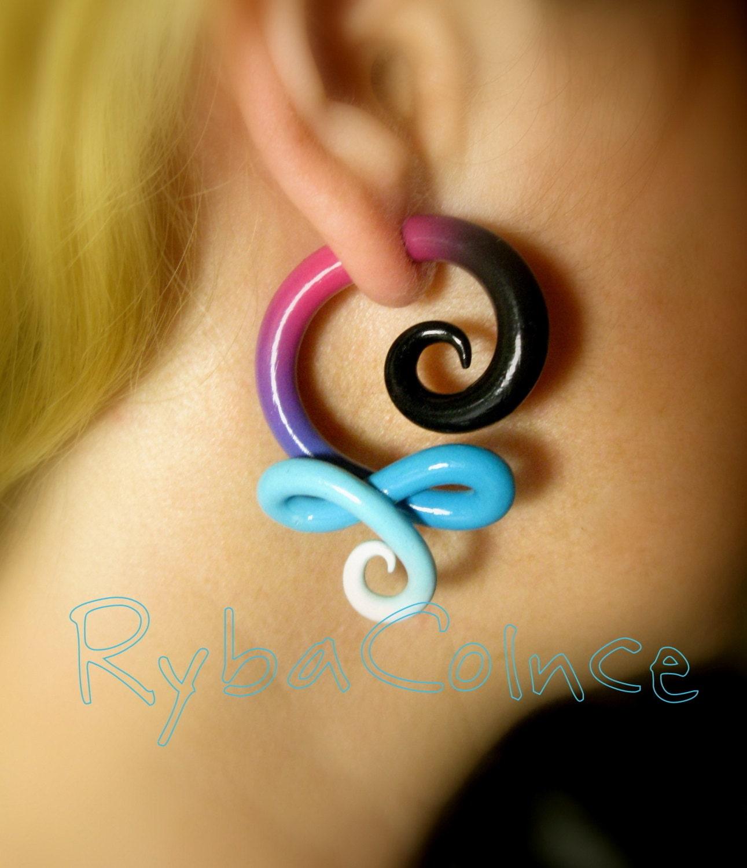 Fake Ear Gauges Faux Gauge/Gauge Earrings/Tentacle
